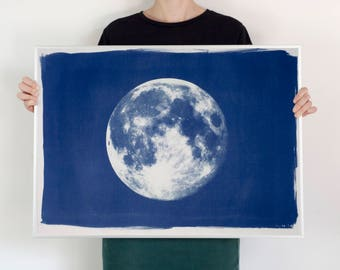 Full Moon Large Cyanotype Print on Watercolor Paper /  50x70 cm / Limited Series /