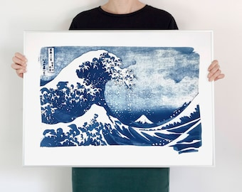 The Great Wave off Kanagawa by artist Hokusai / 50x70 cm Handprinted Cyanotype  on Watercolor Paper / Limited Edition /