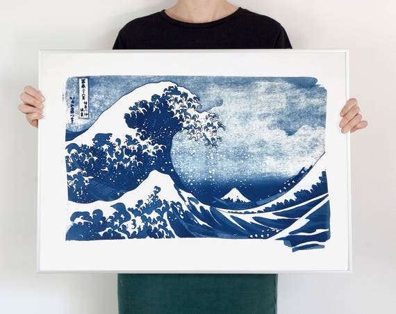 The Great Wave off Kanagawa by artist Hokusai, Handmade Cyanotype Print on Watercolor Paper. Limited Edition