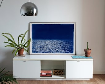 Barcelona Beach Night Horizon / 100x70cm / Cyanotype on Watercolor Paper / Limited Edition