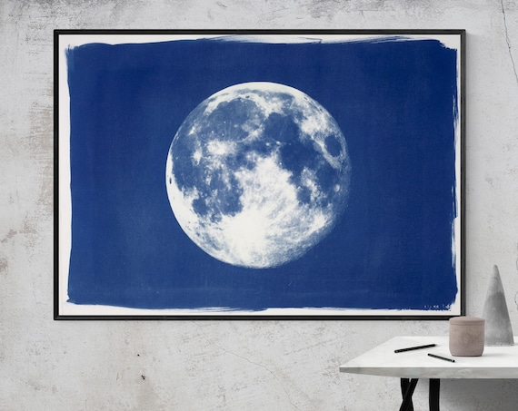 Full Moon Print, Large Cyanotype Print on Watercolor Paper (100x70cm). Limited Edition (1/50)