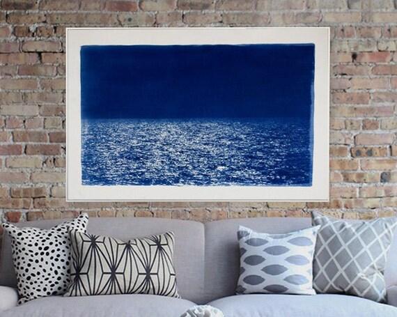 Barcelona Beach Night Horizon / 100x70cm / Cyanotype Print on Watercolor Paper / Limited Edition