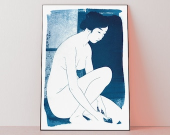 50x70 cm / Ukiyo-e Woman Bathing / Cyanotype Print on Watercolor Paper / Limited Edition