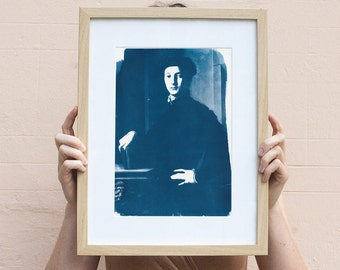 """Young Man"" by Bronzino / Cyanotype on Watercolor Paper / Limited Edition / A4"
