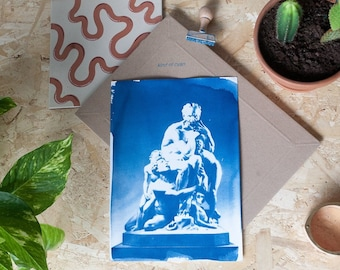 Ugolino and His Sons by Carpeaux / Cyanotype on Watercolor Paper / Limtied Edition