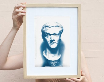 Housewarming gift, Caligula Classic Sculpture, Roman Empire, Cyanotype Print, Rustic Decor, Gift for husband Housewarming gift, Ancient Rome