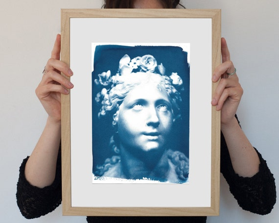 Bernini Blessed Soul Sculpture, Cyanotype Art Print, Italian Renaissance, Ancient Rome, Italian Masters, Boho Art Print, Female Bust