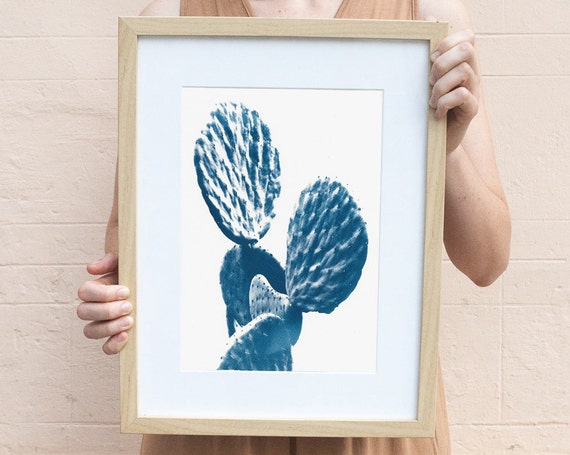 Cactus Art, Succulent Print, Cyanotype on Watercolor Paper, Botanical Artwork, Cactus Watercolor, Cactus Art, Trending Now Prints