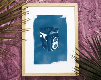 Yashica Twin-Len, Vintage Camera Lover, 3d Render Print, Cyanotype, Camera Collector, Vintage Art, Polaroid Camera, Medium Format, 120 Film