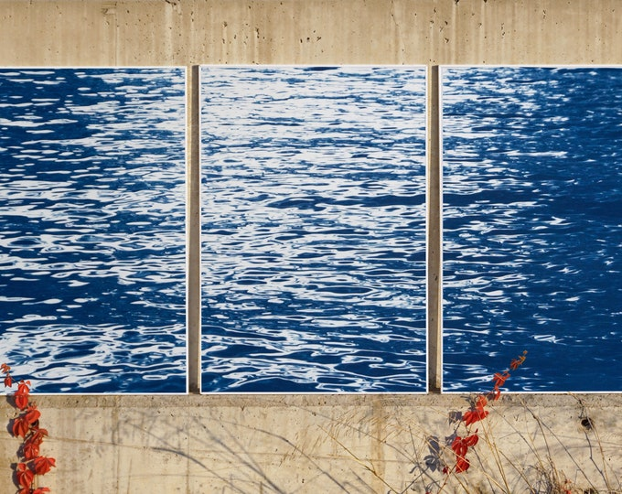 Featured listing image: Moonlight Ripples over Lake Como / Cyanotype Triptych on Watercolor Paper / 2020