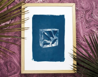 3d Screen Block Brick / Cyanotype Print on Watercolor Paper / Limited Edition
