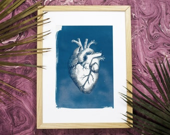 Valentin's Gift Heart Anatomy Vintage Illustration, Cyanotype, Doctor Gift, Heart, Medical Art, Anatomical Heart, Love Gift, Gift for Her,