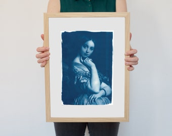 Ingres Portrait of Young Woman / Cyanotype Print on Watercolor Paper / Limited Edition