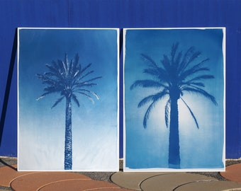 Duo of Egyptian Palms / Handprinted  Cyanotype Print on Watercolor Paper / Limited Edition of 50