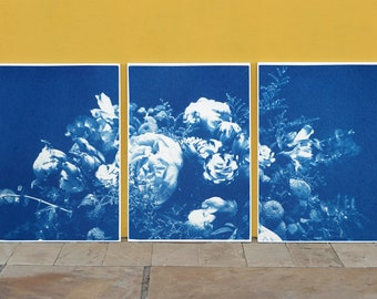 Large Flower Bouquet / Triptych / Handmade Cyanotype on Watercolor Paper / 100 x 210 cm