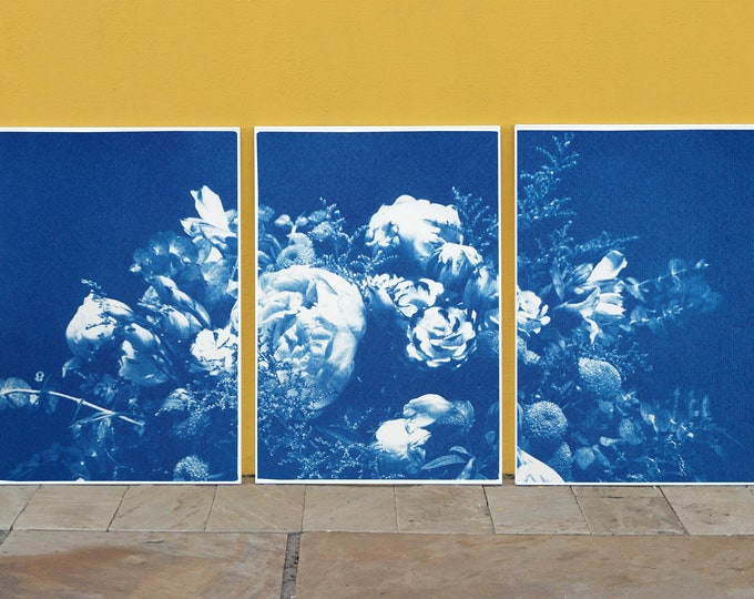 Featured listing image: Large Flower Bouquet / Triptych / Handmade Cyanotype on Watercolor Paper / 100 x 210 cm