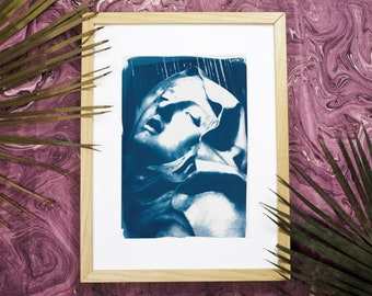 Bernini Sculpture : Ecstasy of St. Teresa / Cyanotype Print on Watercolor Paper / Limited Edition