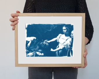 Caravaggio Painting : Judith Beheading Holofernes / Cyanotype Print on Watercolor Paper / Limited Edition