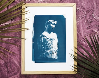 Roman Female Bust Sculpture, Cyanotype Print on Watercolor Paper, Marble Sculpture, Ancient Rome, Ancient Greece, Roman Boho Prints Wall Art