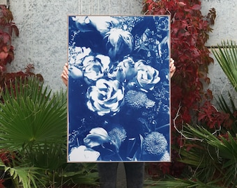 Blue Flowers Bouquet / Cyanotype on Watercolor Paper / 100x70 cm