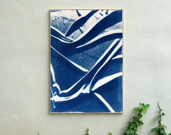 Classic Blue Silk Movement / Cyanotype on Watercolor Paper / 100x70cm