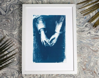 Engagement Painting by Antony Van Dyke, Cyanotype, Marriage Art Print, Artist Wedding, Hand and Ring Art, Engagement Art, Wedding Artwork