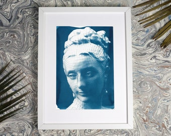 3d Render of Victorian Female Portrait / Cyanotype Print on Watercolor Paper / Limited Edition / A4