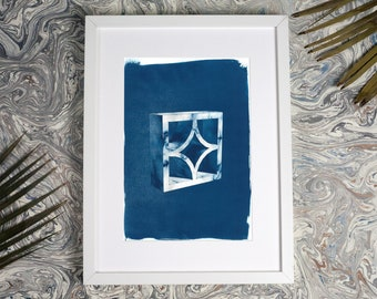 50s Architecture 3d Screen Block Brick, Cyanotype, Modern Apartment, Trendy Art 2018, Art Deco, Breeze Block, Architect Gift, Marble Texture