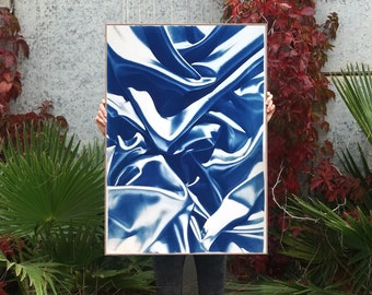 Classic Blue Silk Movement No. 4, Cyanotype on Watercolor Paper, Limited Edition