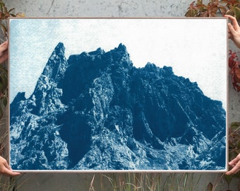 Rocky Desert Mountain / Cyanotype Print on Watercolor Paper / 2020