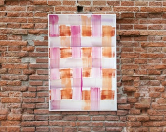 Pink and Orange Brushstroke Grid / Acrylic Painting on Paper / 2021