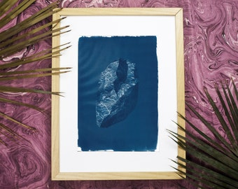 3D Low-Poly Rock / Cyanotype Print on Watercolor Paper / Limited Edition