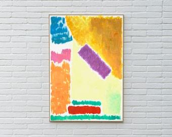Pastel Geometric Landscape / Acrylic Painting on Paper / 2020
