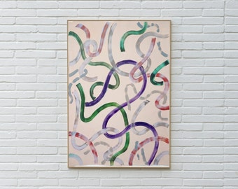 Green and Purple Outlines on Ivory / Acrylic Painting on Paper / 100x70 cm / 2020