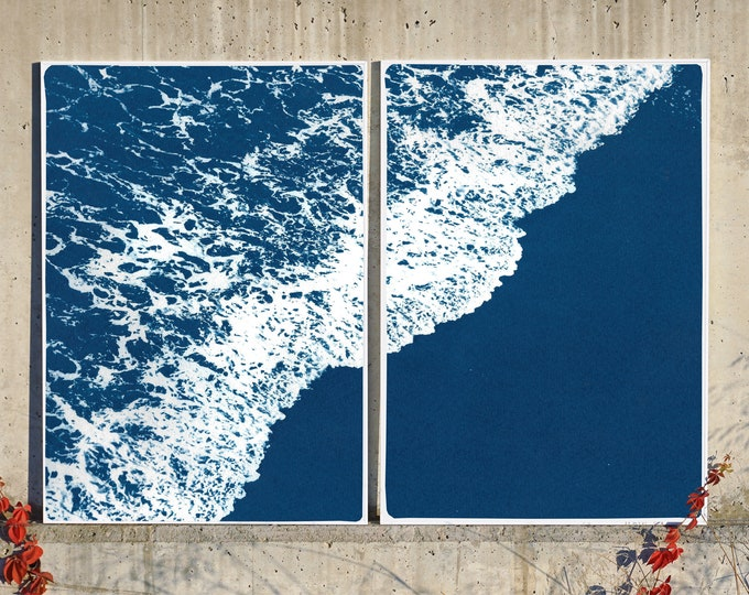 Featured listing image: Deep Blue Sandy Shore / Cyanotype Diptych on Watercolor Paper / 2020