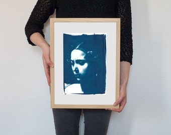 Judith Beheading Holofernes (detail) / Handprinted Cyanotype on Watercolor Paper / Limited Edition