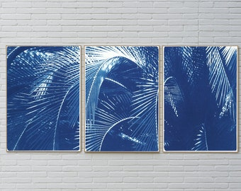 Shady Majesty Palm Leaves / Handmade Cyanotype Print on Watercolor Paper / Limited Edition