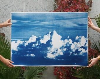 Blustery Clouds After a Storm / 100x70cm Cyanotype Print / Limited Edition of 50