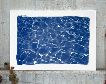 Handmade Large Cyanotype : Hollywood Pool House Glow / 100x70cm / Limited Edition /
