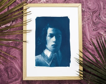 Portrait of Boy from De La Tour / Cyanotype Print on Watercolour / Limited Edition