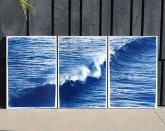 Los Angeles Crashing Wave / Cyanotype on Watercolor Paper / Limited Edition