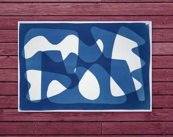 Mid Century Shapes / Cyanotype - Monotype on Watercolor Paper / 100x70 cm