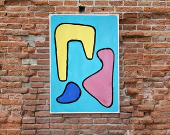 Modern Shapes in Primary Colors / Acrylic Painting on Paper by Ryan Rivadeneyra