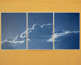 Serene Cloudy Sky / Handmade Cyanotype Triptych on Watercolor Paper / Limited Edition