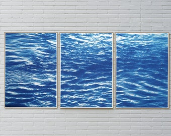 Refreshing River Flow / Nautical Cyanotype Triptych on Watercolor Paper / 100x210 cm