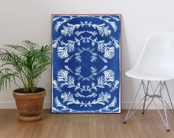 Vintage Pressed Flowers / Handmade Cyanotype on Watercolor Paper / Limited Edition