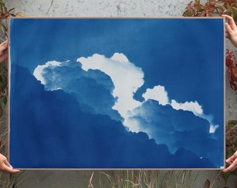 Yves Klein Clouds / 100x70cm / Cyanotype on Watercolor Paper / Limited Edition