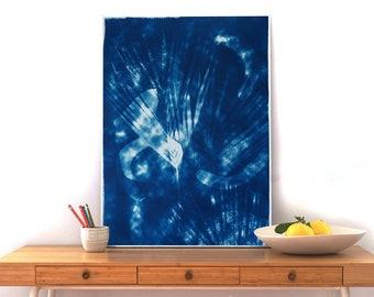 Abstract Cloudy Shades / Botanical Cyanotype on Watercolor Paper/  50x70cm