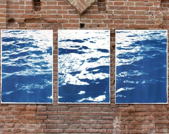 Summer Waters in Cannes / Cyanotype Triptych on Watercolor Paper / Limited Edition