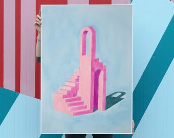 """Pink Building on Sky Blue"" by Ryan Rivadeneyra, 100x70cm"